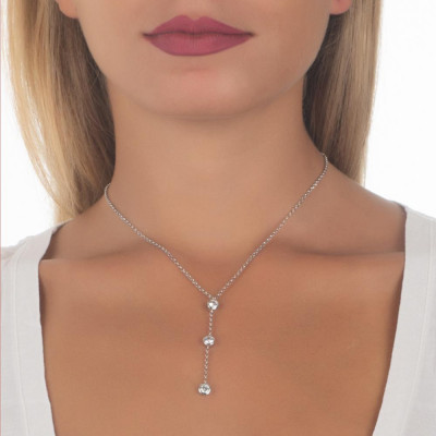 Necklace with cravattino of zircons diamond cut