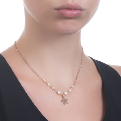 Rose gold plated necklace with natural pearls and central star