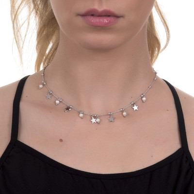 Necklace with natural pendants and pearls