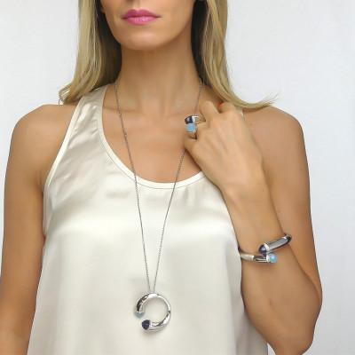 Long necklace with aquamilk crystals, tanzanite and zircons