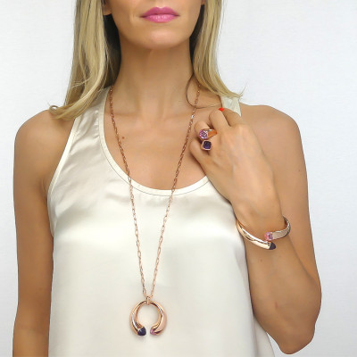 Long necklace with amethyst and morganite crystals