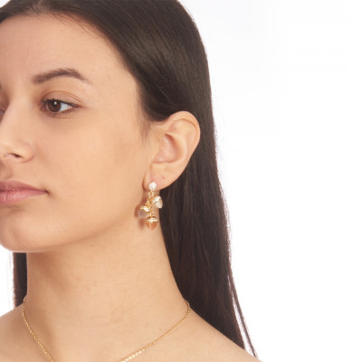 Yellow gold plated earrings with pendant pyramidal crystals and zircons