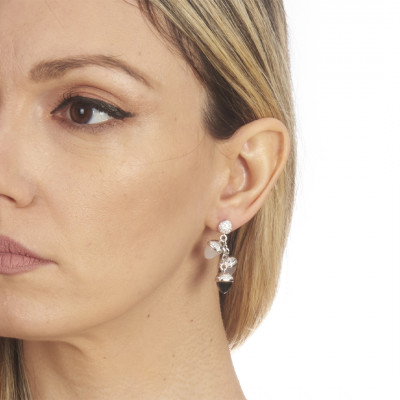 Earrings with pendant pyramidal crystals and zircons