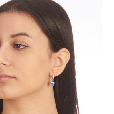 Crescent earrings with zircons and pyramidal crystal in light blue chalcedony