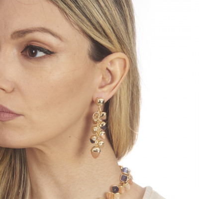 Earrings with cornelian ear of corn pyramidal crystals, tanzanite and moonstone