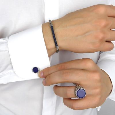 Circular cufflinks with blue agate
