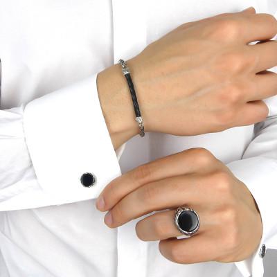 Circular cufflinks with black agate