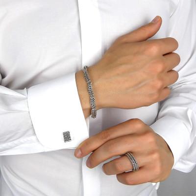 Rectangular twisted cord cufflinks