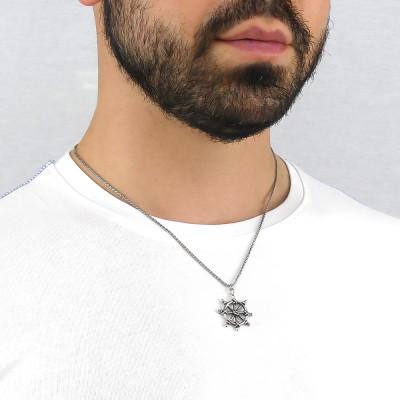 Herringbone necklace with rudder