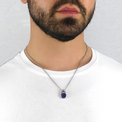 Knot necklace with blue agate