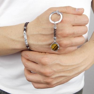 Tiger eye circular keychain