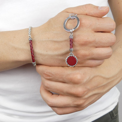 Rope keychain with red agate