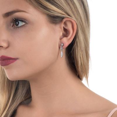 Earrings pavèdi with zircons