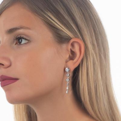 Earrings with zircons degradèpendenti