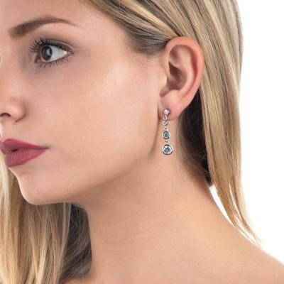 Earrings with pendent zircons degradè
