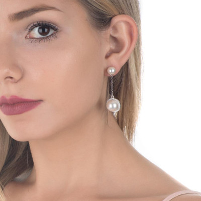 Earrings Pendant with zircons and Swarovski pearl