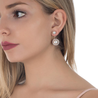 Earrings double pearl pavèdi with zircons