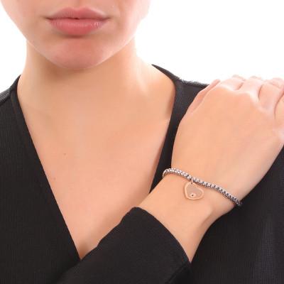 Bracciale beads bicolor con cuore e zircone