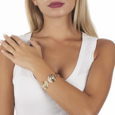 The semirigid Bracelet Gold Plated yellow with decoration of inspiration Maya and Swarovski