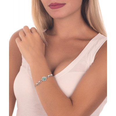 Bracelet double wire with crystal green mint and zircons