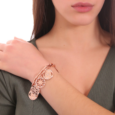 Rose gold plated rectangular bracelet with charms and Swarovski crystals
