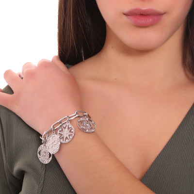 Rhodium-plated rectangular bracelet with charms and Swarovski crystals