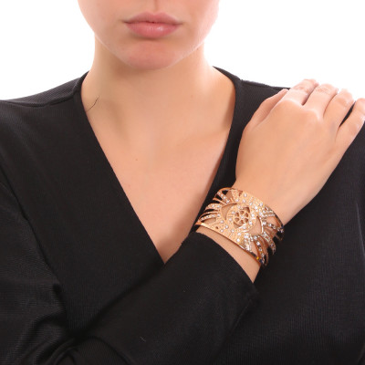Yellow gold-plated flower of life band bracelet with Swarovski