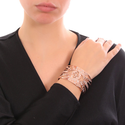 Rose gold plated flower of life band bracelet with Swarovski