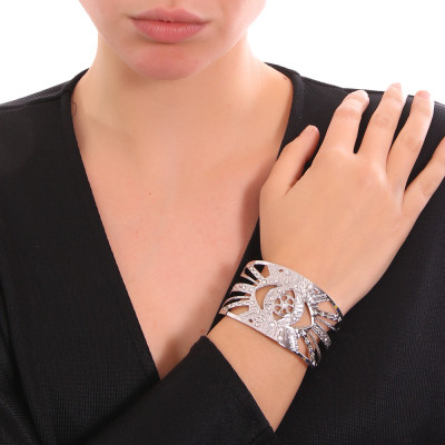 Rhodium-plated flower of life bracelet with Swarovski