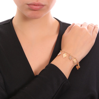 Yellow gold plated bracelet with oak leaves
