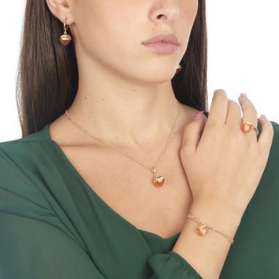 Double strand bracelet with carnelian crystal
