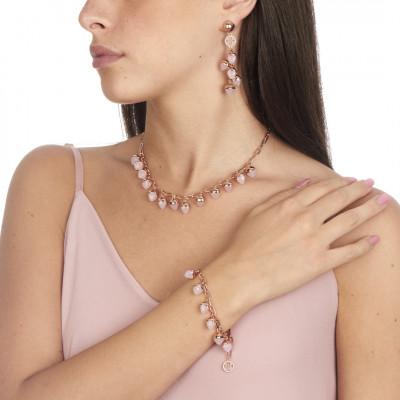 Bracelet with rose quartz colored pendants