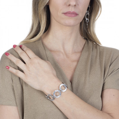 Rhodium-plated bracelet with circular modules