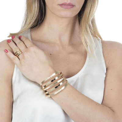 Yellow gold plated multi strand bracelet