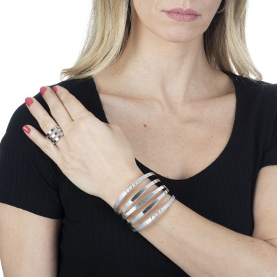Rhodium-plated bracelet with multi-strand band