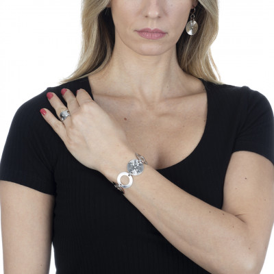 Rhodium-plated bracelet with circular modules with Swarovski
