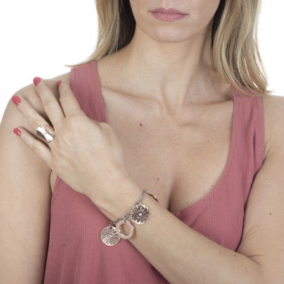 Two-tone bracelet with circular pendants and Swarovski