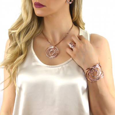 Rose gold plated band bracelet with circular decorations and Swarovski