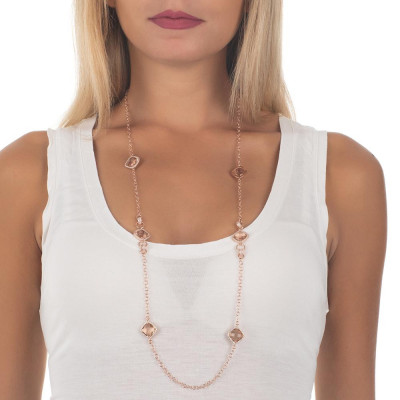 Long necklace with crystals briolette peach and zircons