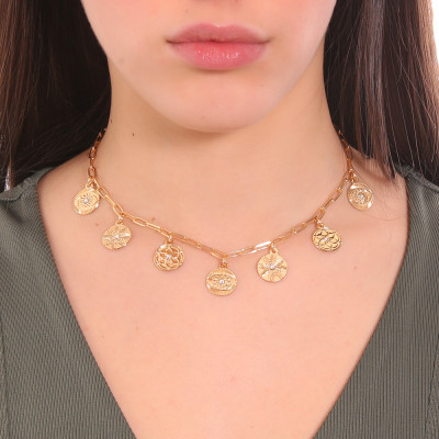Yellow gold plated necklace with charms and Swarovski