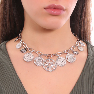 Rhodium-plated rectangular link necklace with charms and Swarovski