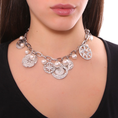 Rhodium-plated necklace with charms, crystals and Swarovski pearls