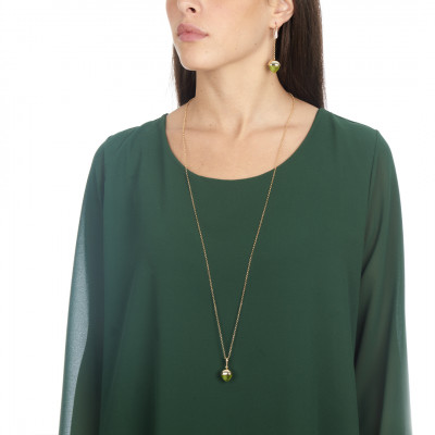 Long necklace with olivine crystal pendant