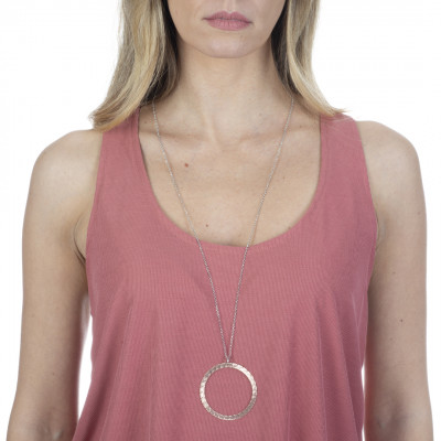 Long necklace rose gold plated with diamond pendant