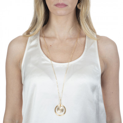 Yellow gold plated necklace with concentric pendant and Swarovski