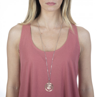 Two-tone necklace with concentric pendant and Swarovski