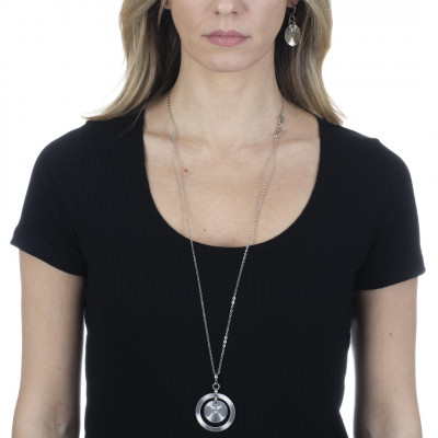 Rhodium-plated necklace with concentric pendant and Swarovski