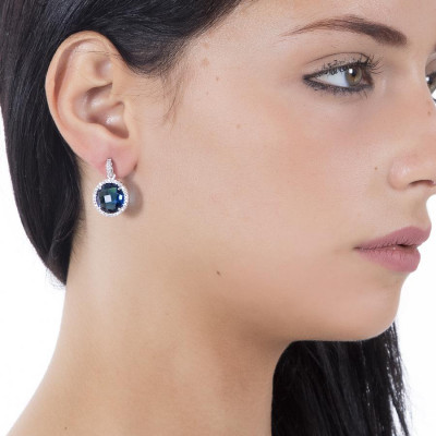Pendant earrings with crystals Montana and zircons