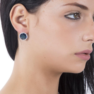 Earrings in the lobe with zircons and crystal Montana