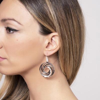 Earrings Pendant with circular   vortex and zircons